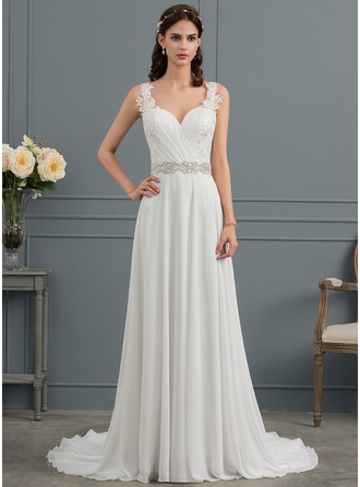 A-Line V-neck Court Train Chiffon Wedding Dress With Ruffle