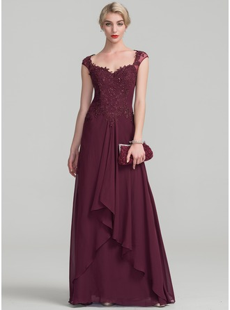 A-Line/Princess Sweetheart Floor-Length Chiffon Lace Evening Dress With Beading Sequins Cascading Ruffles