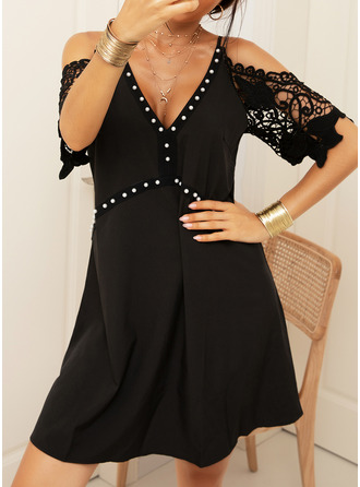 Lace Solid Shift 1/2 Sleeves Cold Shoulder Sleeve Mini Casual Dresses