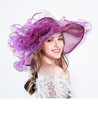 Ladies ' Glamourøse/Iøjnefaldende/Charmen Netto garn med Blomst Strand / Sun Hatte/Kentucky Derby Hatte/Tea Party Hats
