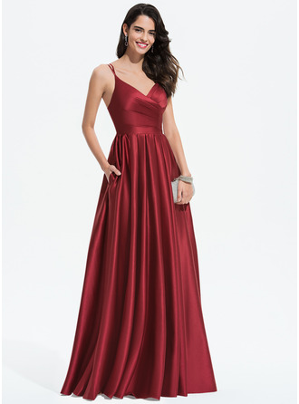 V-Neck Burgundy Satin Satin Dresses