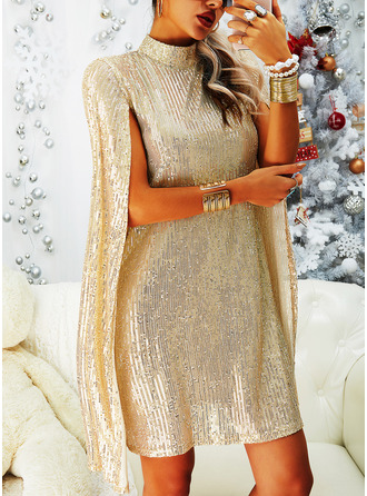Sequins Shift Long Sleeves Split Sleeve Midi Party Elegant Tunic Dresses