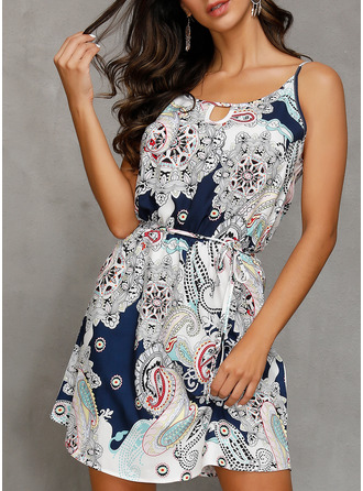 Print A-line Shift Sleeveless Mini Boho Casual Vacation Type Dresses