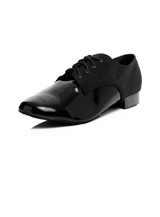 Men's Leatherette Heels Ballroom With Lace-up Dance Shoes