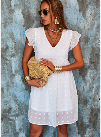 Solid Shift Cap Sleeve Mini Casual Vacation Tunic Dresses