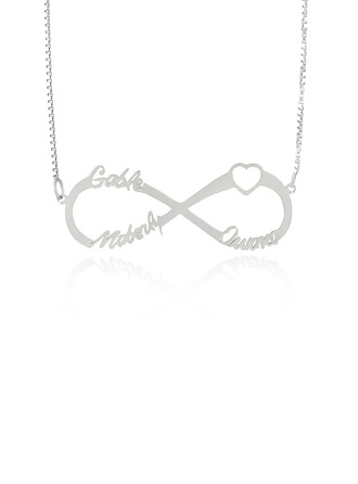 Custom Sterling Silver Hollow Carved Name Necklace Infinity Name Necklace With Heart -