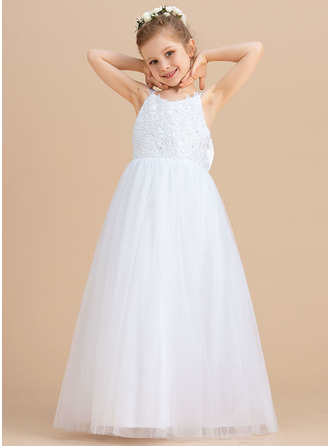 Ball-Gown/Princess Floor-length Flower Girl Dress - Tulle/Lace Sleeveless V-neck With Beading/Bow(s)