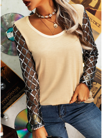 Sequins Solid Round Neck Long Sleeves Casual Blouses (1003255044)