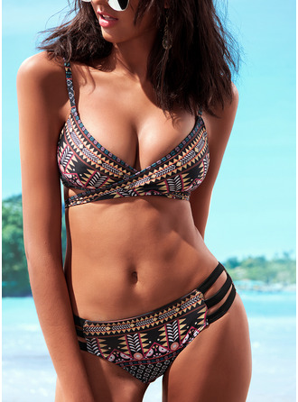 Bikinis Polyamid Print Geometric Women's Yes Swimwear