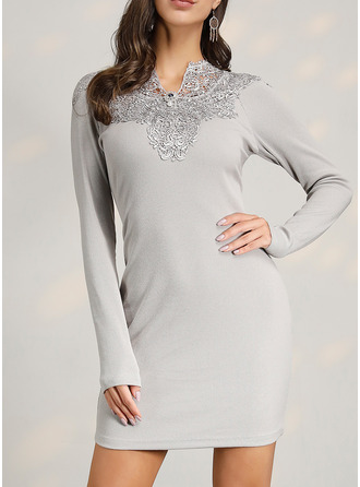 Lace Solid Bodycon Long Sleeves Mini Casual Elegant Dresses