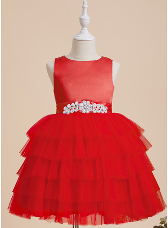 Ball-Gown/Princess Scoop Neck Knee-length With Beading/Bow(s) Satin/Tulle Flower Girl Dress
