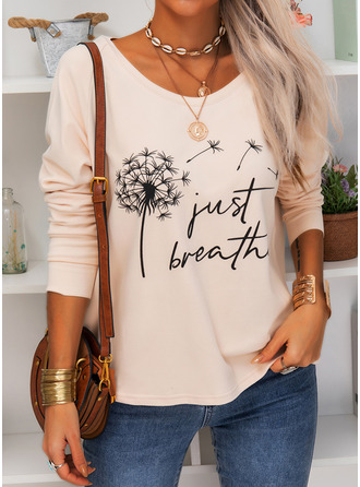 Dandelion Figure Print Round Neck Long Sleeves Casual T-shirt