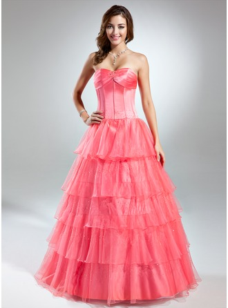 Ball-Gown Sweetheart Floor-Length Organza Quinceanera Dress With Beading Cascading Ruffles