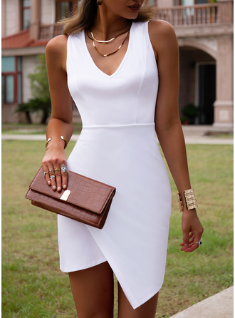 Solid Bodycon Sleeveless Mini Casual Dresses