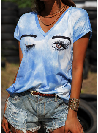 Tie Dye Print V-Neck Short Sleeves Casual T-shirt