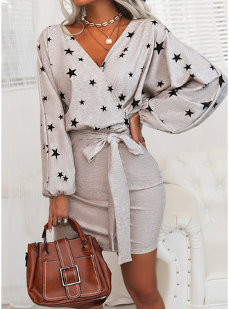Print Bodycon Long Sleeves Mini Elegant Wrap Dresses