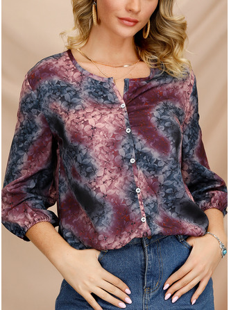 Floral V-Neck 3/4 Sleeves Button Up Casual
