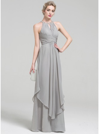 A-Line/Princess Scoop Neck Floor-Length Chiffon Prom Dress With Beading Sequins Cascading Ruffles