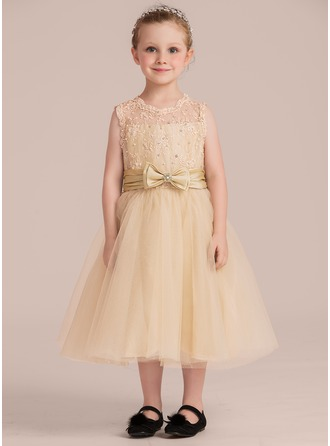 A-Line/Princess Tea-length Flower Girl Dress - Taffeta/Tulle/Lace Sleeveless Scoop Neck With Beading (Detachable sash)