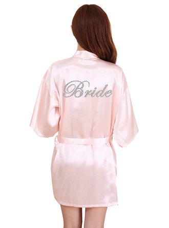Personalized Bride Bridesmaid Polyester With Short Personalized Robes