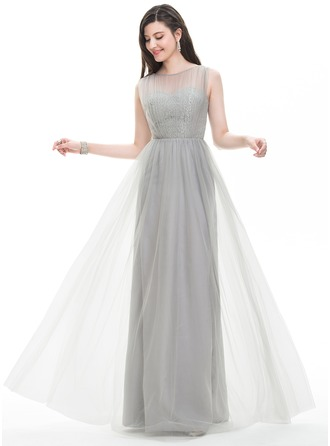 A-Line/Princess Scoop Neck Floor-Length Tulle Prom Dresses With Ruffle