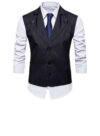 Solid Color Polyester Viscose Men's Vest