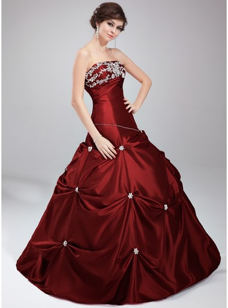 Ball-Gown Strapless Floor-Length Taffeta Quinceanera Dress With Beading Appliques Lace Sequins