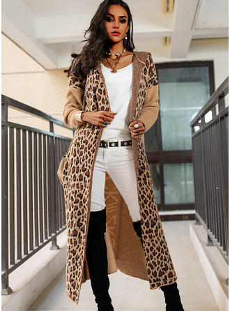 Hooded Casual Long Leopard Color Block Print Sweaters