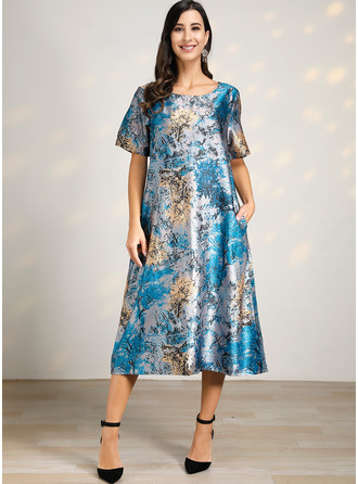Midi Round Neck Polyester/Linen Print Short Sleeves Fashion Dresses