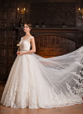Ball-Gown Scoop Neck Cathedral Train Tulle Wedding Dress With Beading Appliques Lace Sequins
