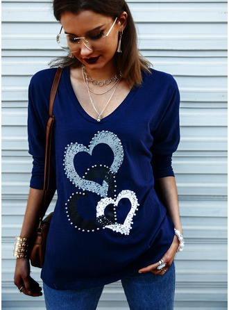 Print V-Neck Long Sleeves Casual T-shirt