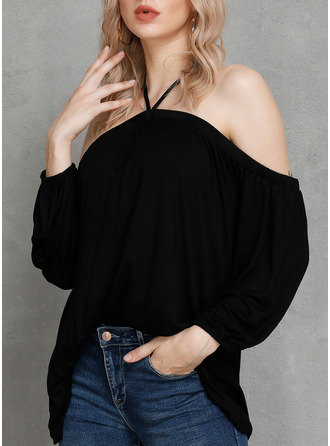 Solid Cold Shoulder Long Sleeves Casual Sexy