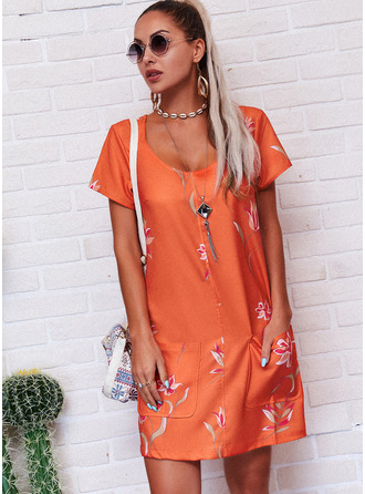 Floral Print Shift Short Sleeves Mini Casual T-shirt Dresses