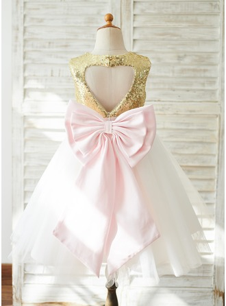 A-Line Knee-length Flower Girl Dress - Tulle/Sequined Sleeveless Scoop Neck With Sash/Back Hole