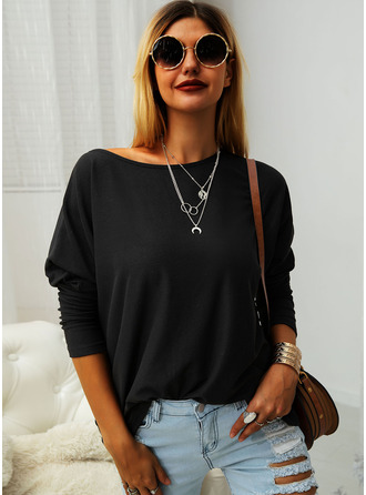 Solid Round Neck Batwing Sleeves Long Sleeves Casual T-shirt