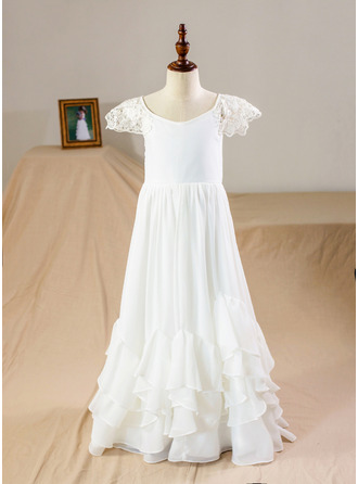 A-Line Floor-length Flower Girl Dress - Chiffon Short Sleeves Scoop Neck With Lace