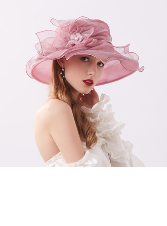 Ladies' Glamourous/Eye-catching Organza With Flower Beach/Sun Hats/Kentucky Derby Hats/Tea Party Hats