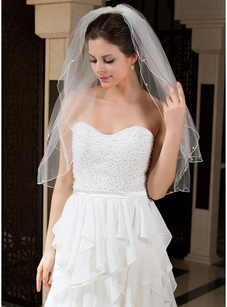 Two-tier Elbow Bridal Veils With Pencil Edge