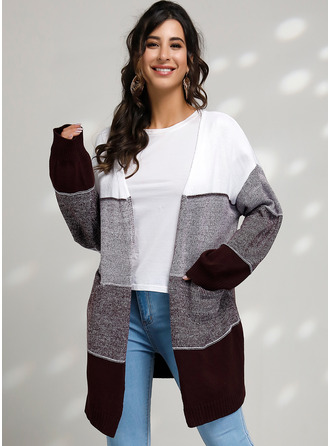 Color Block Cable-knit Chunky knit Polyester Cardigans Sweaters