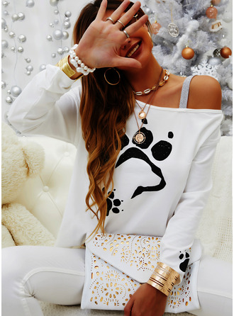 Animal Print Sequins One Shoulder Long Sleeves Casual Blouses