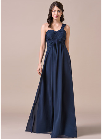 Empire One-Shoulder Floor-Length Chiffon Prom Dress With Ruffle