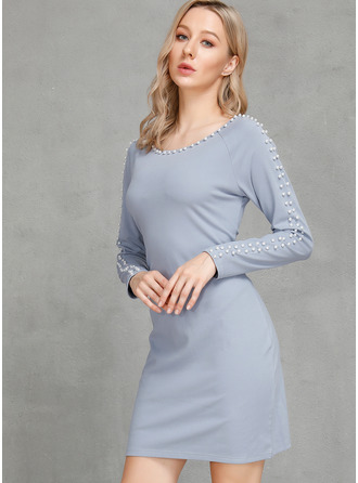 Above Knee Round Neck Linen Solid Long Sleeves Fashion Dresses