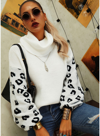 Turtleneck Casual Leopard Sweaters