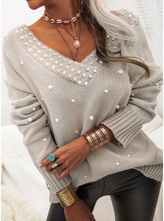 V-Neck Casual Beaded Solid Sweaters