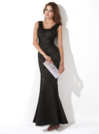Trumpet/Mermaid Floor-Length Satin Evening Dress With Ruffle