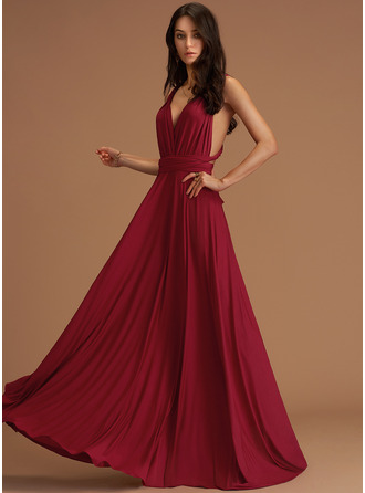 V-neck Burgundy Floor-Length Jersey Dresses