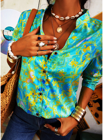 Print V-Neck 1/2 Sleeves Button Up Casual Shirt Blouses (1003254574)