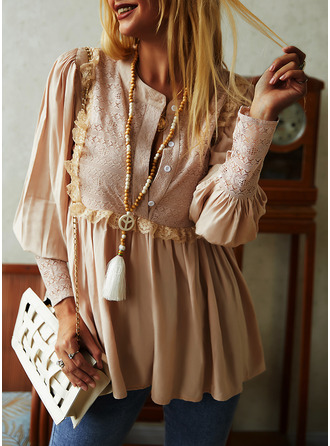 Lace Solid V-Neck Lantern Sleeve Long Sleeves Button Up Casual Blouses