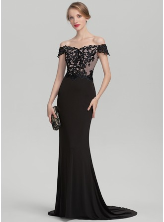Trumpet/Mermaid Off-the-Shoulder Sweep Train Lace Jersey Mother of the Bride Dress With Beading Sequins