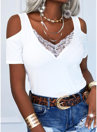 Lace Solid Cold Shoulder Short Sleeves Casual Blouses